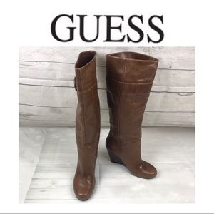 Guess Brown Leather Boots. Sz 6M